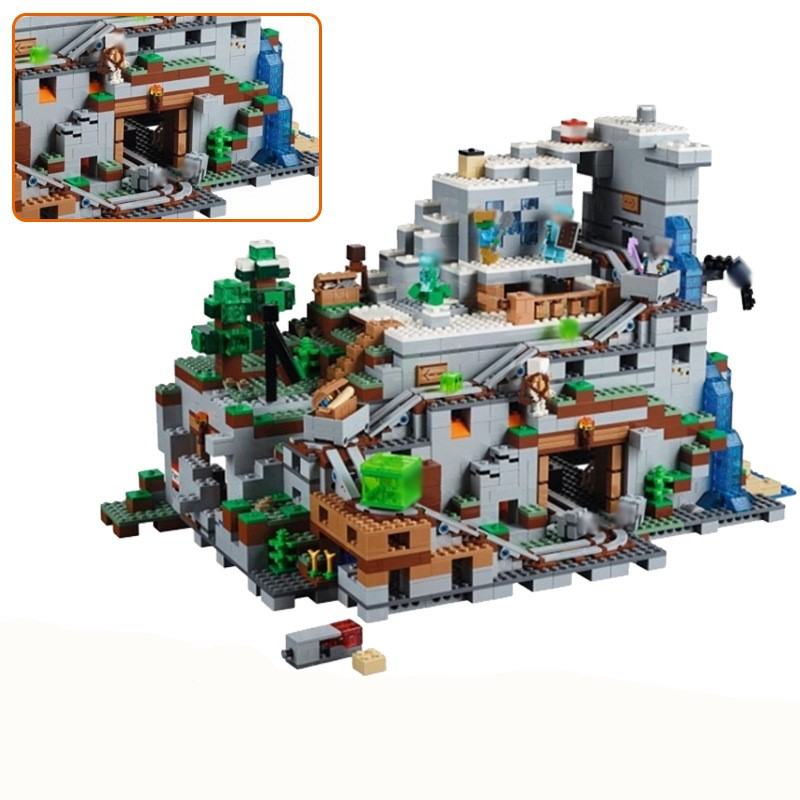 LEPIN 18032 2932pcs Model Building Kit Blocks Bricks of My world Miniecraft The Mountain Cave Compatible with legoied 21137 gift dhl lepin 18032 2932 pcs the mountain cave my worlds model building kit blocks bricks children toys clone21137 in stock