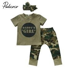 Pudcoco recién llegados caliente bebé recién nacido Niño Casual bebé chico  chica camuflaje camiseta Casual Tops pantalones ropa . eabff78652ea