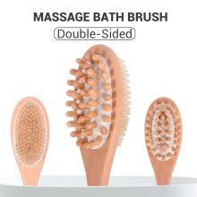 2-in-1 Body Brush Sided Natural Bristles Body Brush Scrubber Long Handle Wooden Spa Shower Brush Bath Massage Brushes Dropship vehhe body brush spa banya massage scrubber bathroom accessory long handle shower brush bath skin massage brushes exfoliate