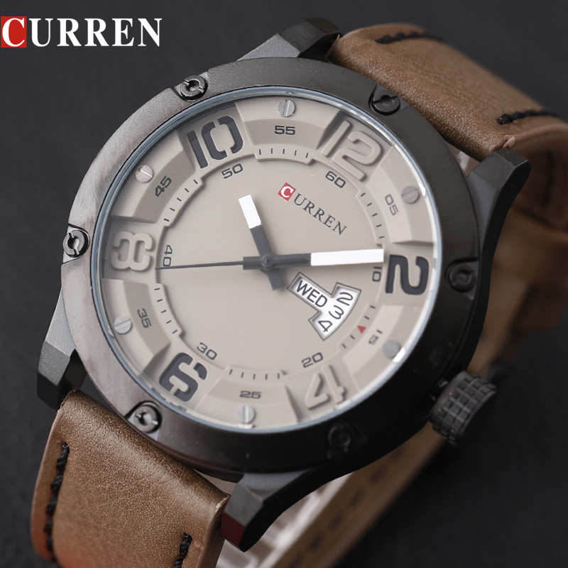 цена на CURREN 2018 fashion top new Luxury Brand Relogio Masculino week Date diaplay Leather strap Men Sports Watches Quartz Clock 8251