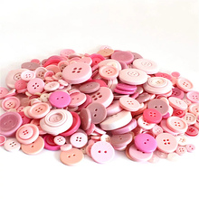 50g Mix Size pink Color DIY Scrapbooking Resin Buttons Plastic Childrens Garment Sewing Notions crafts