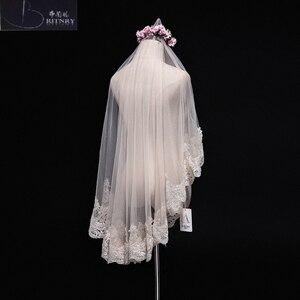 Image 4 - Veu De Noiva Ivory Champagne Wedding Veil Lace Edge Bridal Veil