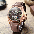 Free shipping Megir 3206 Luminous Mechanical Watch Man Genuine Nubuck Leather Bracelet Wristwatch Display Analog Water resistant