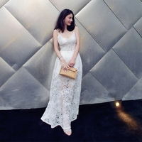 2017 merk dames mode luxe high-end trailing lege harnas V-kraag taille sexy lange kant jurken