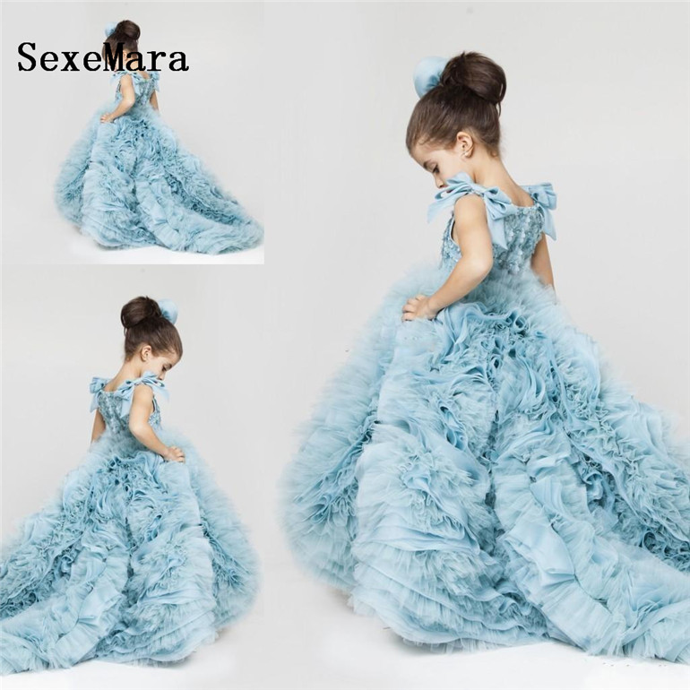 New Pretty Flower Girls Dresses Ruched Tiered Ice Blue Puffy Girl Dresses for Wedding Party Gowns Plus Size Pageant Dresses