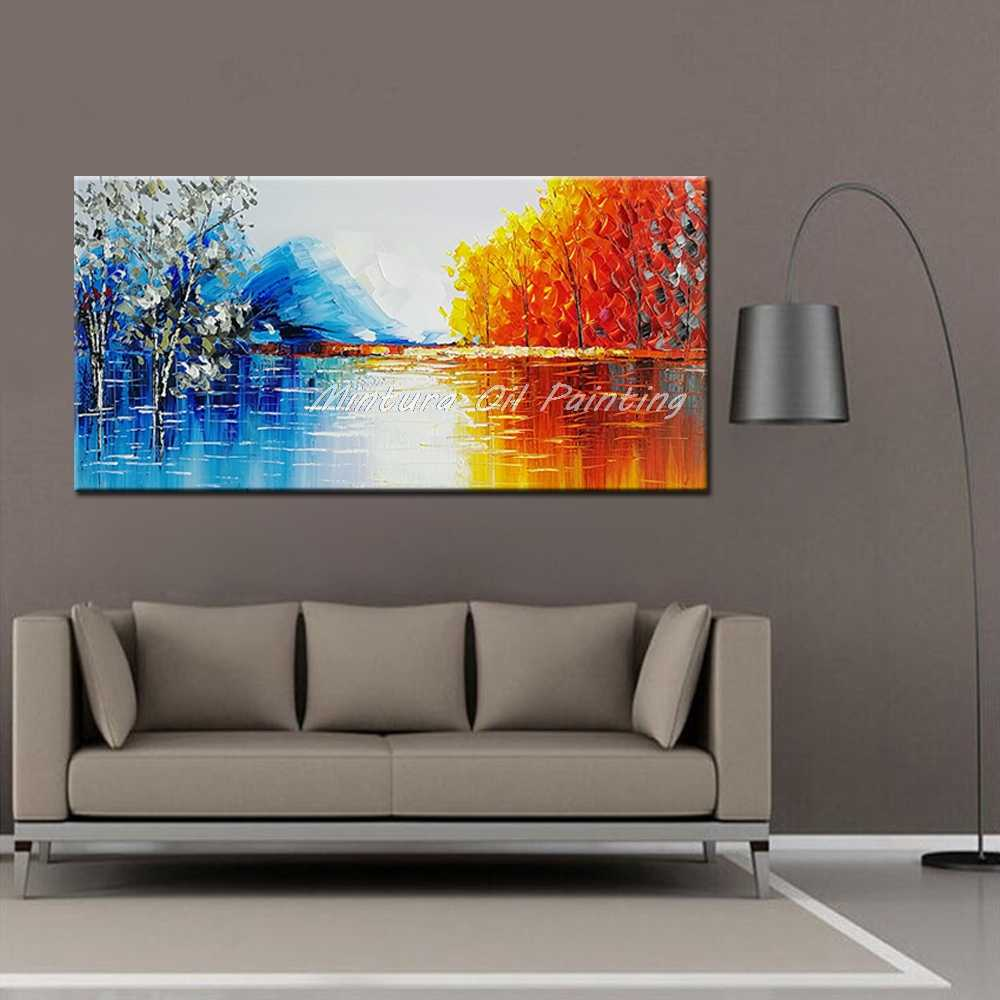 Mintura Handmade Modern Abstract Landscape Oil Painting On Canvas Wall Art Pictures For Live Room Home Decor Paintings Unframe