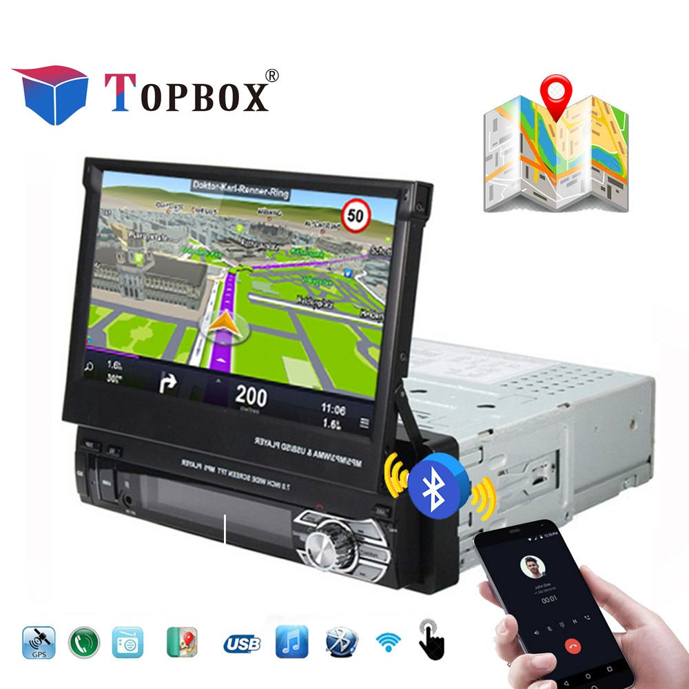 Topbox 2 Din Автомагнитолы gps навигации 12 В 1 Din 7 дюймов Авторадио Bluetooth FM MP5 USB стерео ОТО Teypleri выдвижной Камера