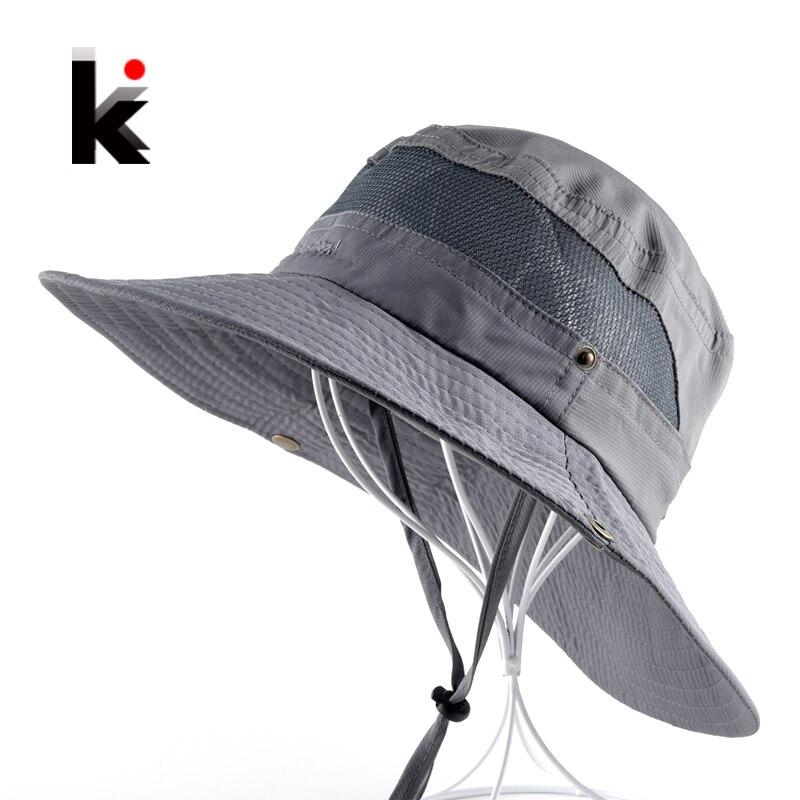 Mens Bob Summer Bucket Hats Outdoor Fishing Wide Brim Hat UV Protection Cap Men Hiking Sombrero Outdoor Gorro Hats For Men ...