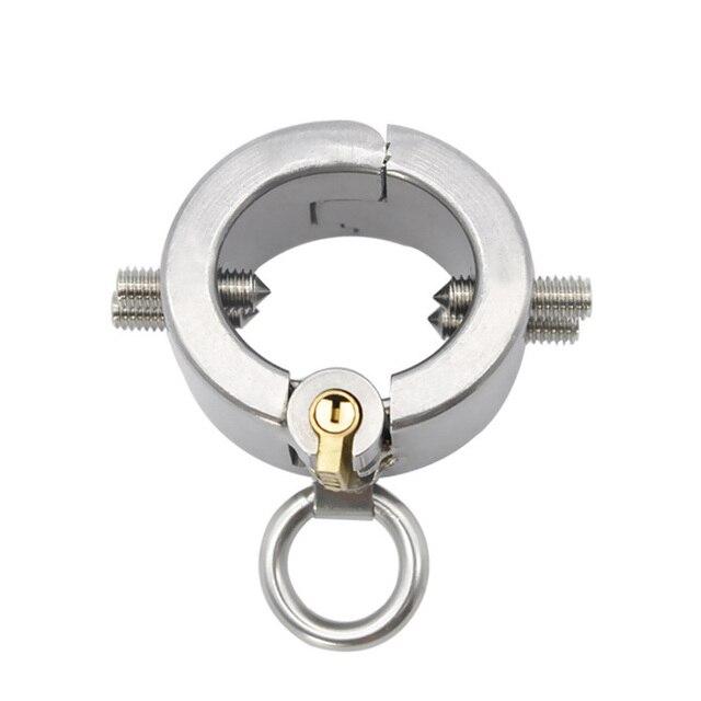 Acero inoxidable metal cock anillos castidad dispositivo castidad juguetes castidad dispositivo penis extensión colgante restricción aparato hombres Juguetes ee89fe