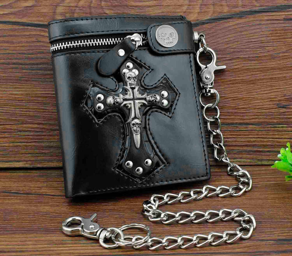 Mens Gothic Cross Clasp Leather Wallet with Antique Biker Chain Black
