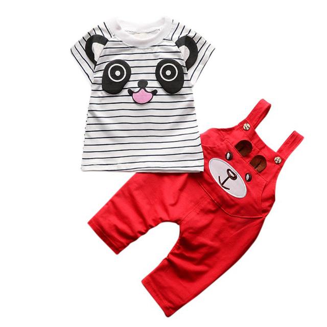 2Pcs boys sets 2018 kids clothes boys Cotton Cute Cartoon Panda Striped T-shit + Strap Pants For Newborn Baby Clothing Set
