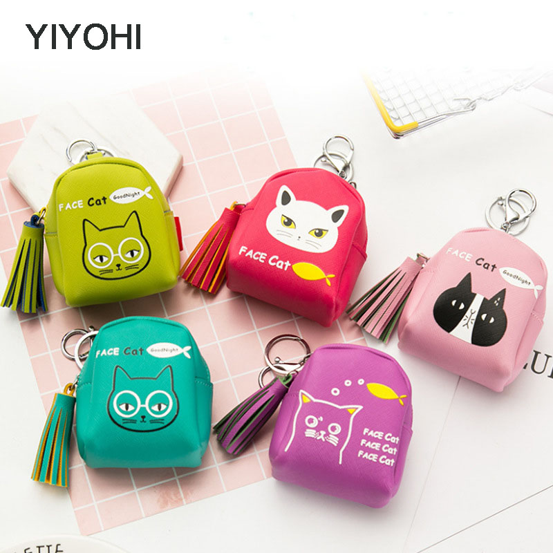 YIYOHI Kawaii Tassel PU Cute Rubbit /Cats /Fruits Zipper Plush Square Coin Purse Children Coin Bag Women Wallets With Key Chain купить