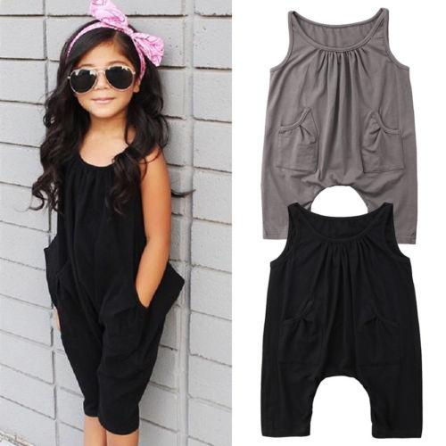 Toddler Bambini Sleeveless Delle Ragazze Del Ragazzo Tasca Nero O Collo Pagliaccetto Tuta Tuta Outfit Abbigliamento Superiore (In) Qualità