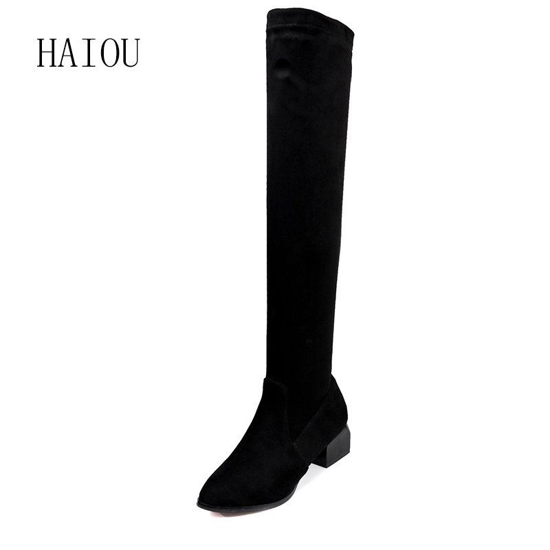 HAIOU Brands Botines Female Winter Boots for Women Over The Knee High Thigh Boots High Heel