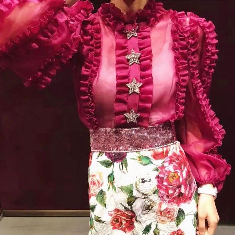 De X227 Manches Ol Mousseline 2018 Automne Fuchsia Diamant À Livraison Mode Col Blouse Tops Avec Femme Lanterne Soie Étoiles Volants Gilet lKTF1Jc