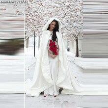 NIXUANYUAN Белый Свадебные накидки 2018 накидка с капюшоном для новобрачных со шлейфом искусственный мех Зимние Свадебные Accressories Свадебные Обертывания накидка