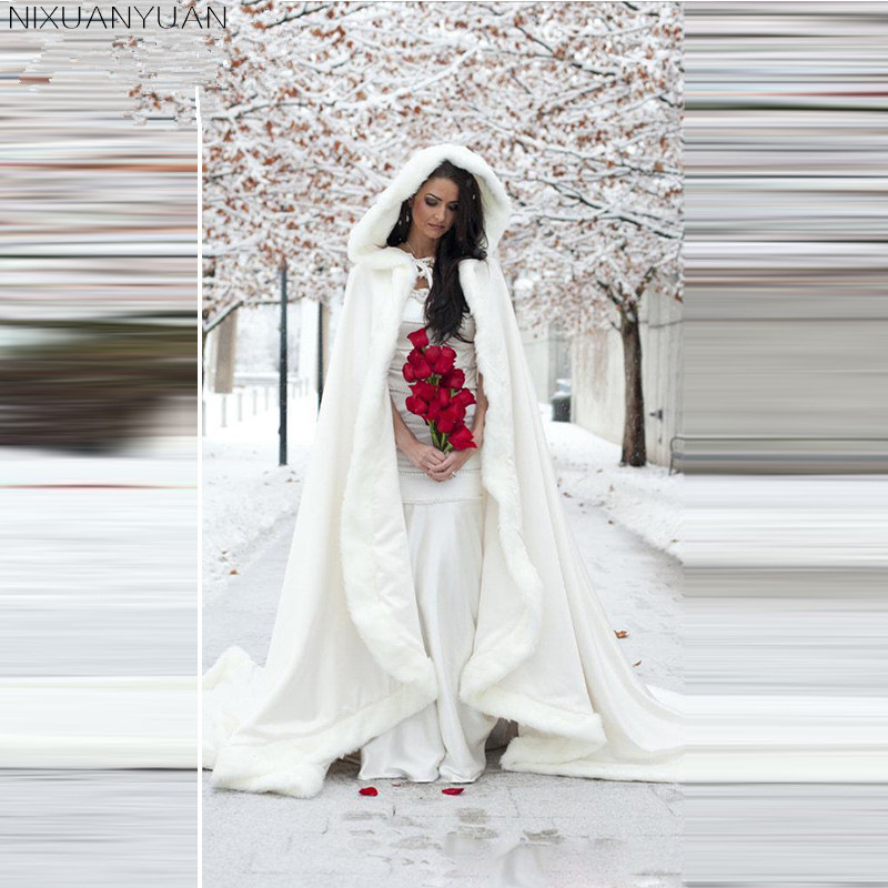 NIXUANYUAN White Wedding Cloaks 2020 Hooded Bridal Cape With Train Faux Fur Winter Wedding Accressories Bridal Wraps Bridal Cape