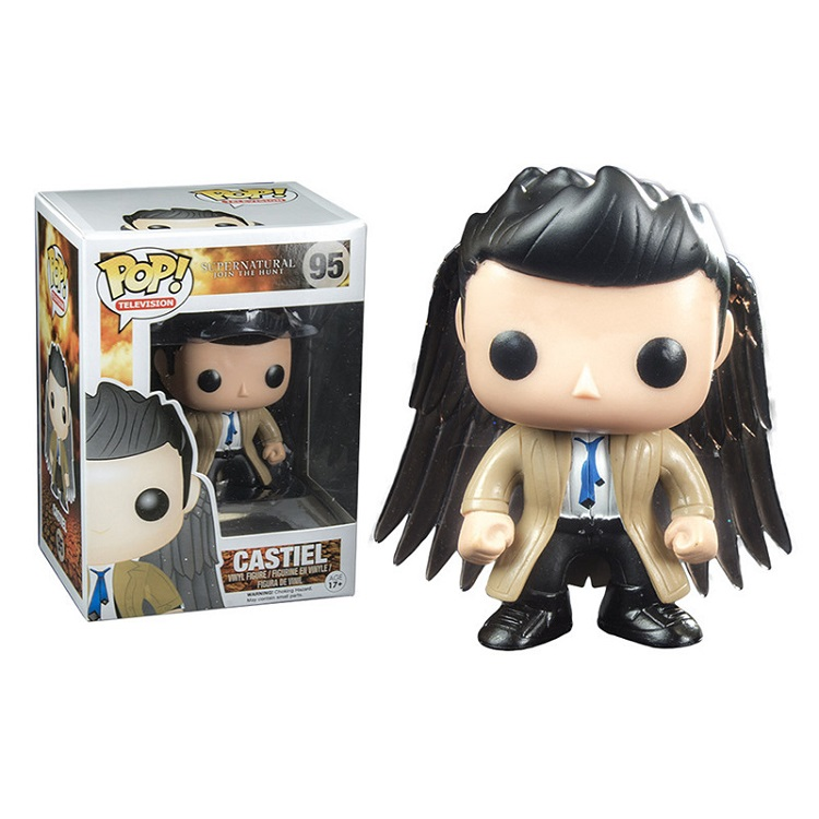 2018 Pompom Sleutelhanger Funko Popo 95# Supernatural Castiel Figure Doll Character Action Collection Chain With Box Gift For