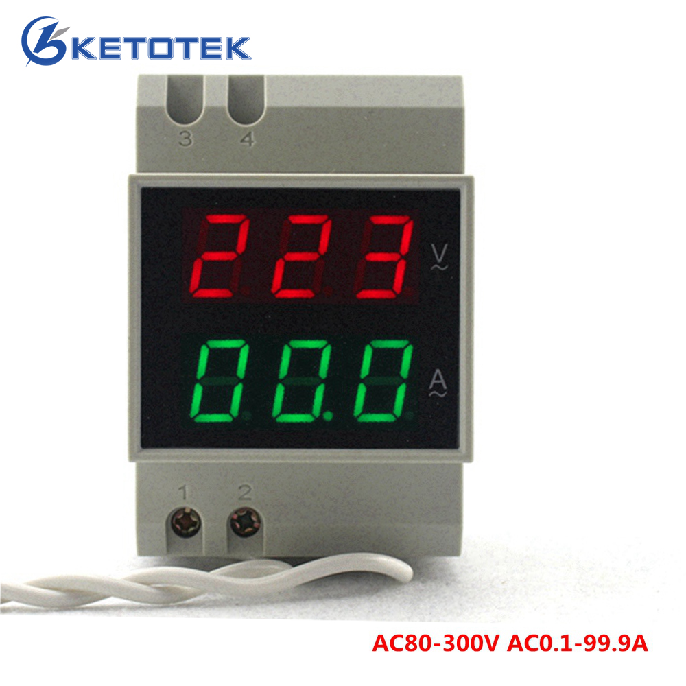 купить AC80-300V AC0.1-99.9A DIN-RAIL Dual led Digital Voltmeter Ammeter Voltage Ampere Meter Volt Current Meter Gauge по цене 776.58 рублей