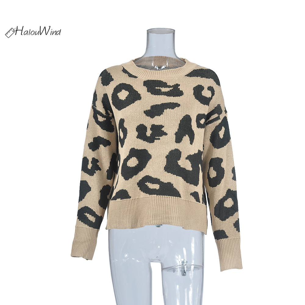 Women Winter Leopard Print Round Neck Pullover Sweater Robe Femme Hiver Jumper Jersey Mujer Knitted Ribbed Sweater Coffee Pink in Pullovers from Women 39 s Clothing