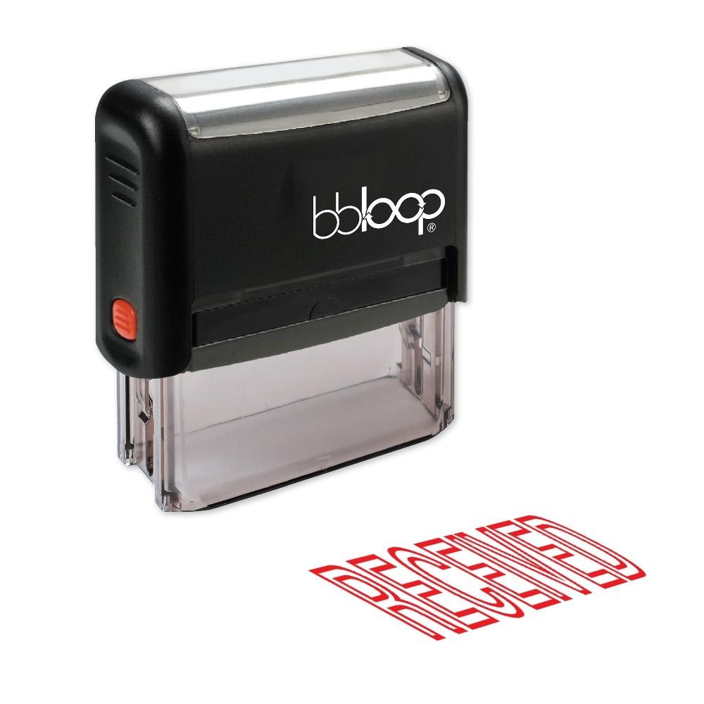 BBloop RECEIVED Outline Self-Inking Stamp, Rectangular, Laser Engraved, RED/BLUE/BLACK 10 digit 9 wheels gray light blue rubber band self inking numbering stamp