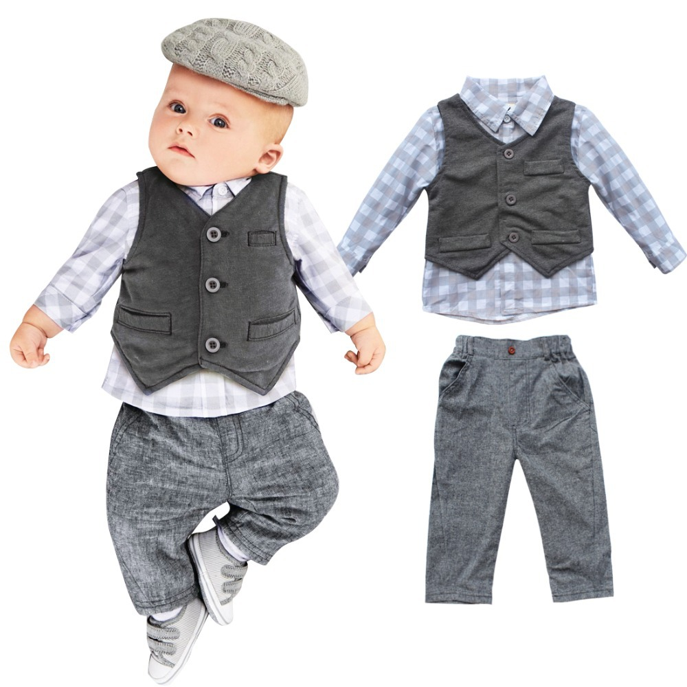 3 pcs newborn baby boy kids clothing sets grey waistcoat. Black Bedroom Furniture Sets. Home Design Ideas