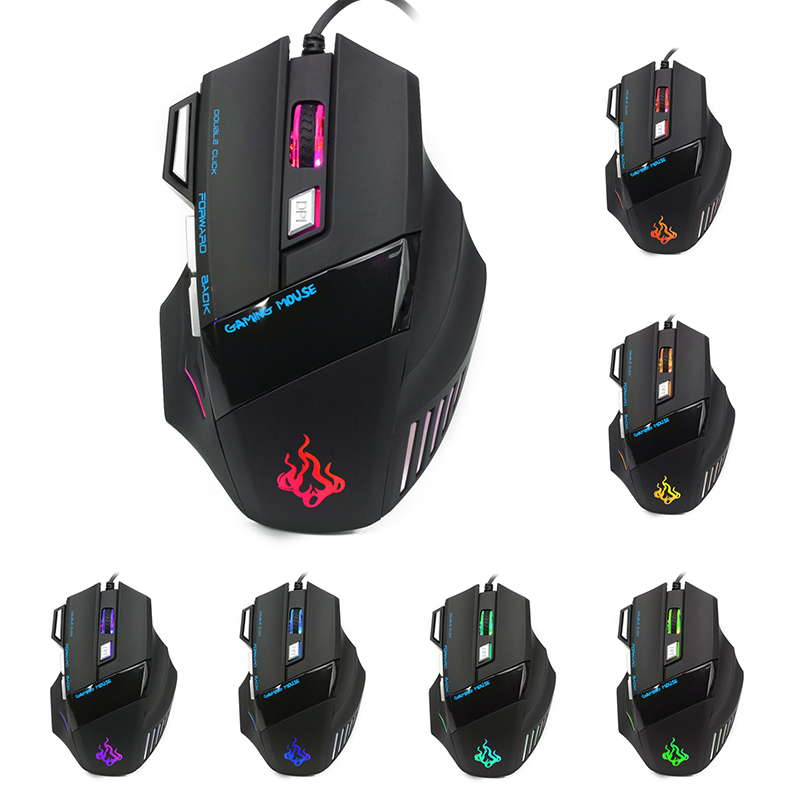 5500 DPI 7 Button LED Optical USB Wired Gaming Mouse Mice For Pro Gamer New Drop Shipping gaming usb wired mouse zelotes c 12 programmable buttons led optical usb gaming mouse mice 4000 dpi souris sans fil