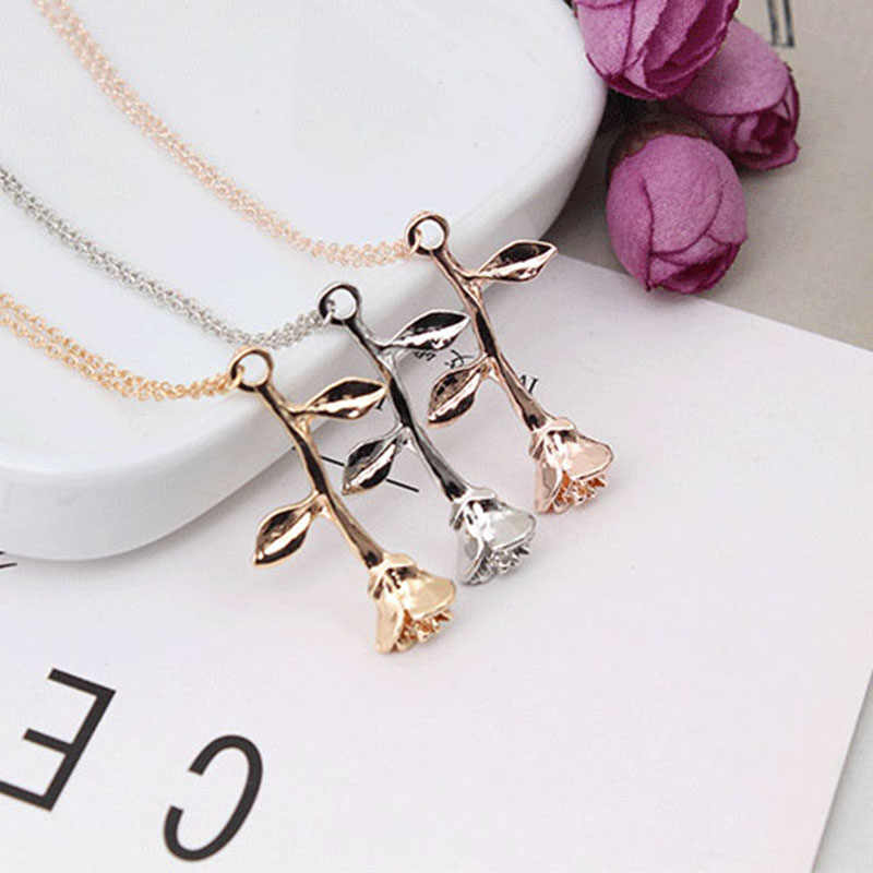 1 Pc Rose Flower Pendant Necklace Charm Chain Necklace Silver Gold Rose Jewelry Collier Femme Necklace For Women Girls Bijoux