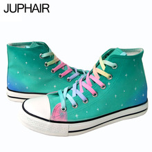 JUP Shoes Mens Women Canvas Print Cool Color High Leisure Shoes Hand-painted Canvas Espadrilles Woman Flat Shoes Kad n Ayakkab