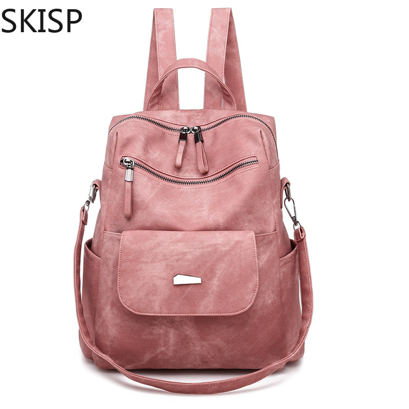 Top Quality Backpack Women PU Leather Pink Backpacks for Teenage Girls Female Zipper School Shoulder Bag Bagpack mochila Solid