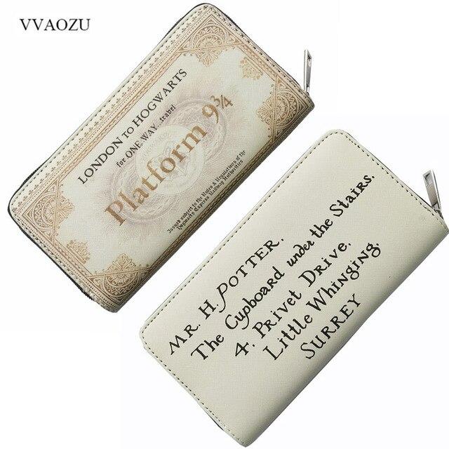 2c6354527e8722 Harry Potter Vintage Wallet Hogwarts Express 9 3/4 Platform Letter of  Admission Long Zipper Wallets Female Card Holder Purse