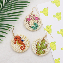 Round Wicker Rattan Earrings for Women Straw Woven Drop Earring Flamingo/Cactus Earing Summer Jewelry Pendientes Mimbre цена