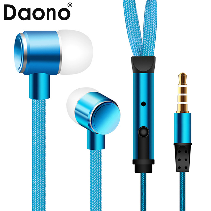 High Quality Metal Earphone Shoelace In Ear Headset handsfree Stereo Headphones with Mic 3.5mm For Phone Auriculares MP3