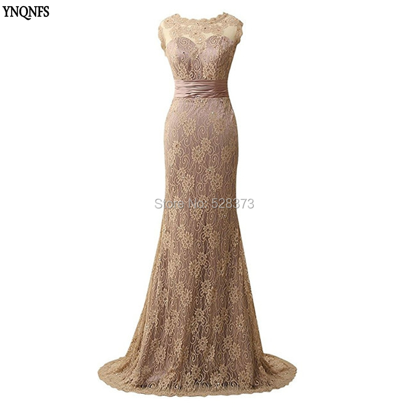 YNQNFS MD145 Real Pictures Cap Sleeves Mermaid Beaded Champange Color Mother of the Bride/Groom Lace Dresses 2019