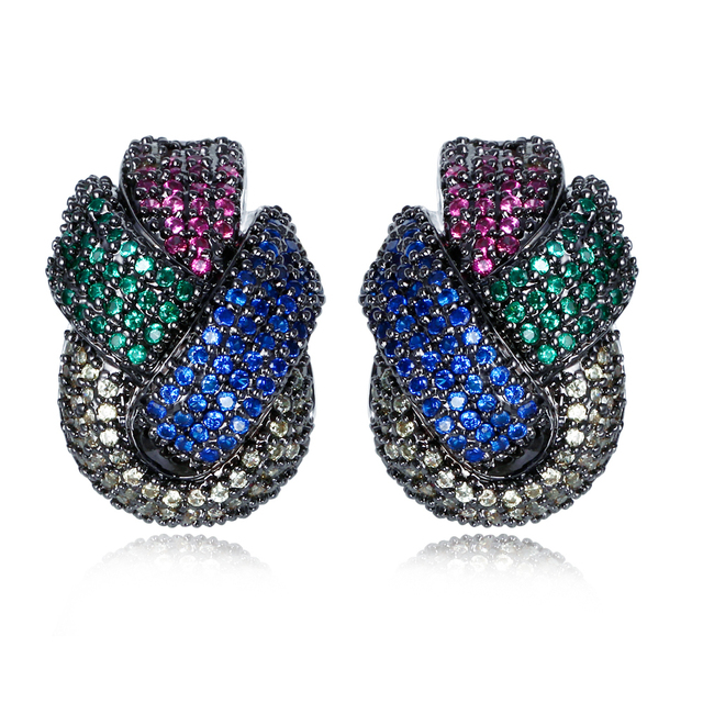 Jewelry earrings micro pave with multi color cubic zirconia big stud earrings top quality jewelry