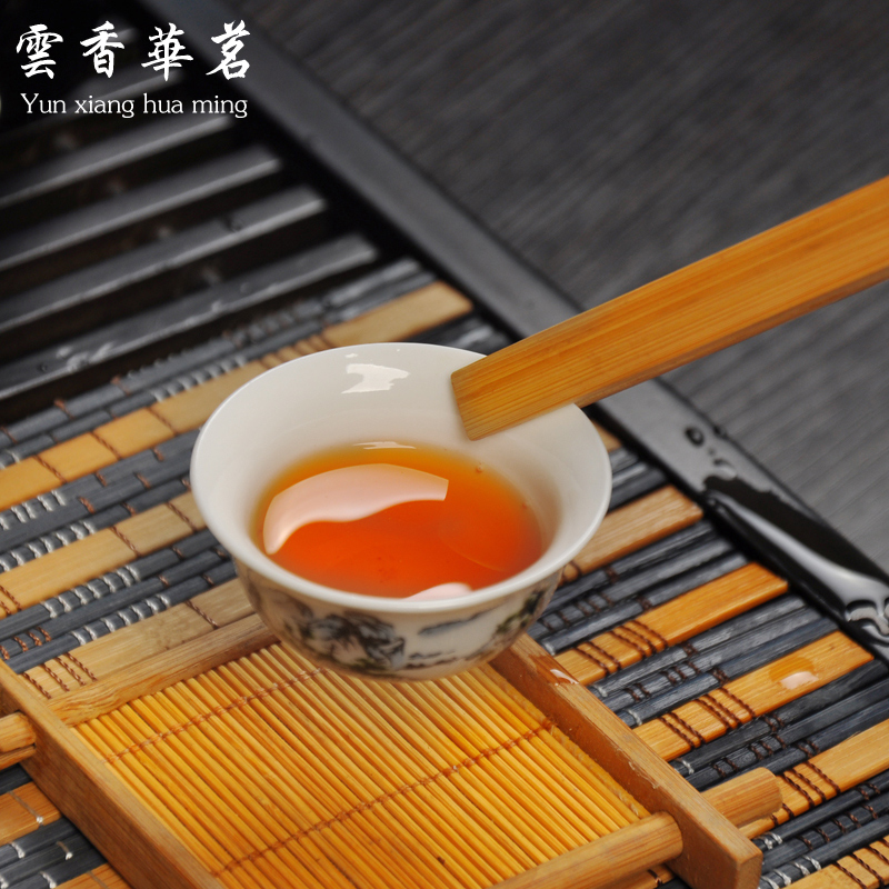 Ceramic porcelain white porcelain tea set special set of Kung Fu tea ceremony wood tray tea table - 4