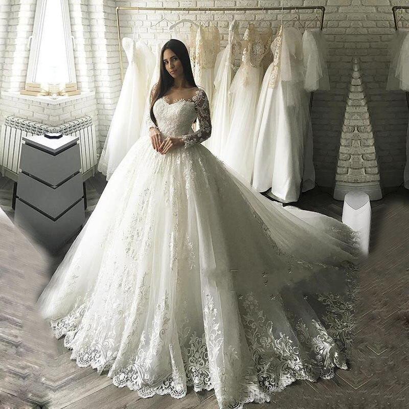 116 5 42 De Reduction Dubai Luxe Robe De Bal Robe De Mariee 2018 Vestido De Noiva Robes De Mariee Avec Dentelle Appliques Robe De Mariage Robe De