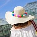 Diseño de Marca de corea Sombreros de Verano Para Mujeres Colorida Bola del Hilado Decoración de Ancho Sombrero de Ala Floppy Playa Vacaciones Precioso Visera 2016052301u2