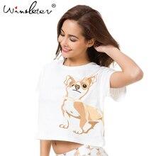 Cute T shirt Women Chihuahua Print Sleep Top Crop Tops Dog Summer Loose Tops Short Sleeve Plus Size S-XXL Cotton Pajamas T61013
