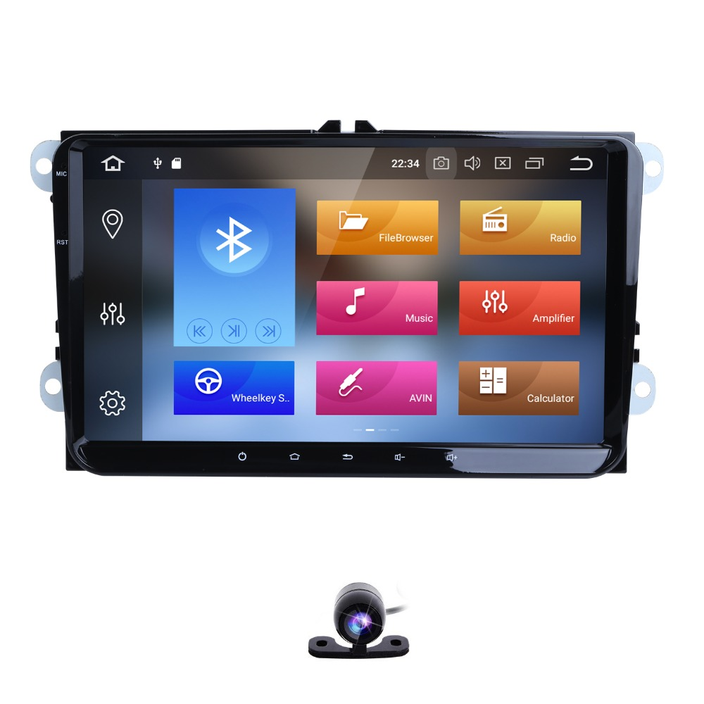 HIZPO 2 Multimedia player Android 8.0 GPS Do Carro Din Para VW/Golf/Tiguan/Skoda/Fabia/ passat/Seat/Leon/Polo/Octavia canbus dvd MAPA CA