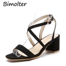 Bimolter 2019 Hot Sale Super Big Size 32-46 Cross Belt Square High Heels Summer Sandals Shoes Women Buckle Strap PSEA003