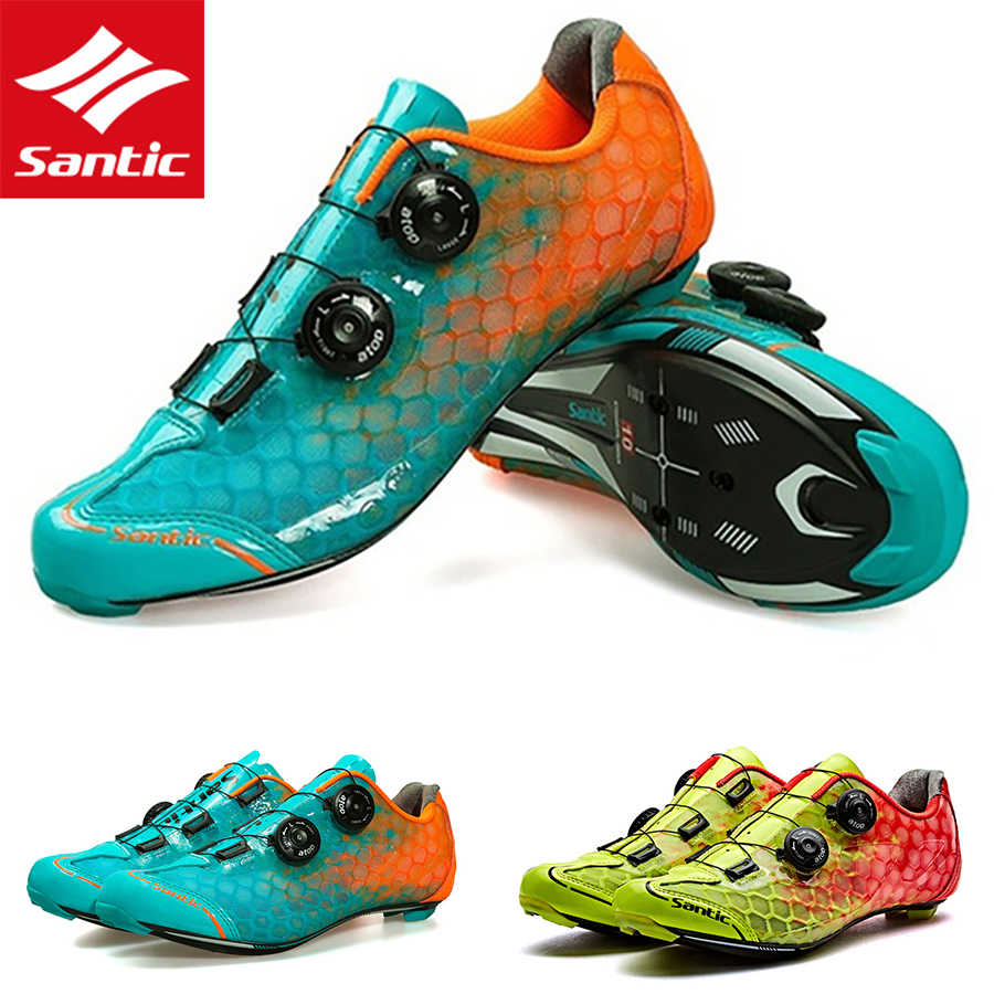 Santic ultra-léger route hommes chaussures de vélo cyclisme 10 Grade en Fiber de carbone chaussures de course athlétique respirant auto-verrouillage chaussures de vélo