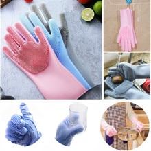 Dropshipping Magic Reusable Silicone Gloves Cleaning Brush Dishwashing