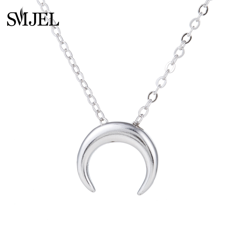 SMJEL Double Horn Necklaces anime Steampunk Films Tiny Crencent Moon Chain Necklace Women Fine Jewelry Birthday Gifts SYXL099