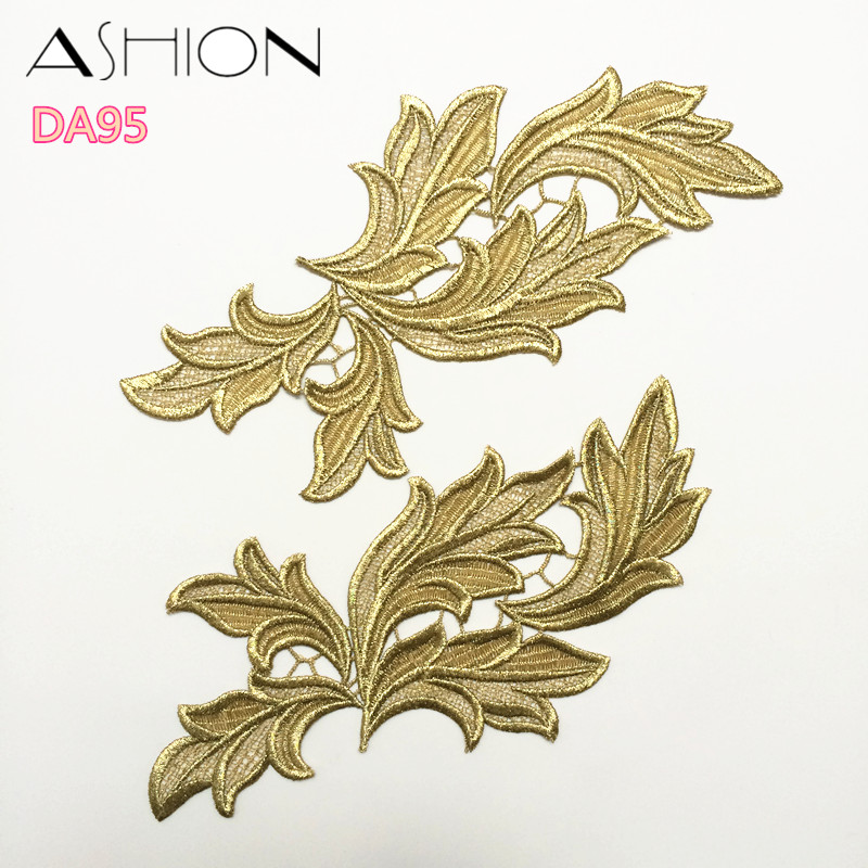 LP-DA95 זהב לבן רקמה פרח טלאים תחרה applique צווארון שמלת כלה שמלה רשמית אביזרים בד 10 יח '