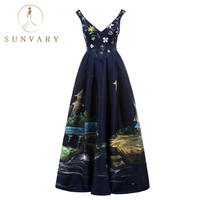 Sunvary Vintage Hand Drawing Celebrity Dress For Women Floor Length Satin V Neck Red Carpet Dresses