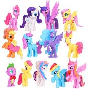 13 шт./компл. 5-8 см единорог Радуга лошадь Мой милый ПВХ маленький пони лошадь экшн-игрушка фигурки Куклы для девочки день рождения Рождествен...