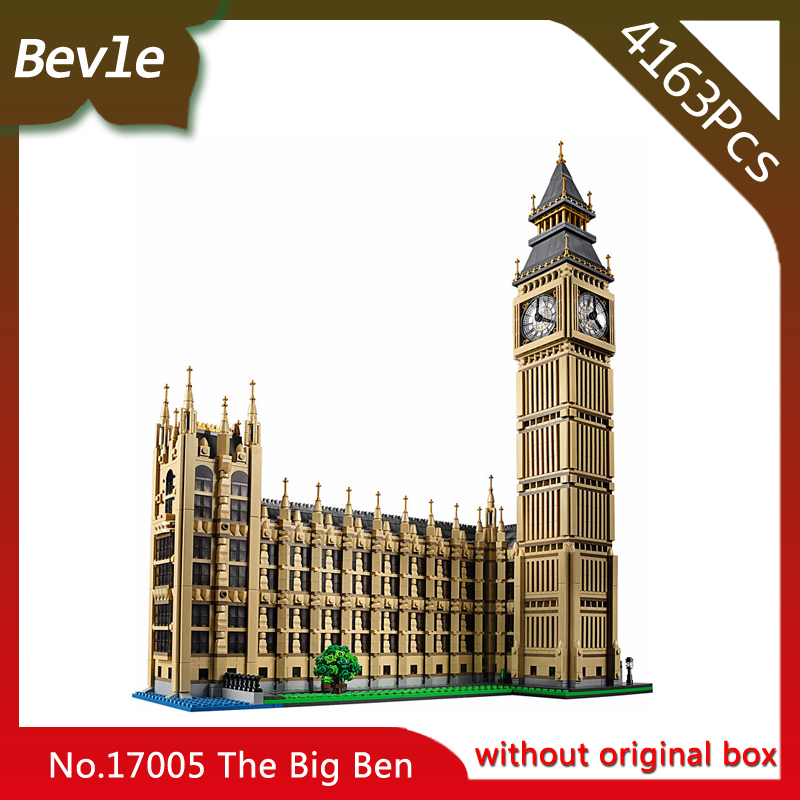 Bevle Store LEPIN 17005 4163pcs Street View Series London Big Ben Model Building Blocks Bricks For Children Toys 10253 Gift vintage rhinestone geometric pendant necklace for women