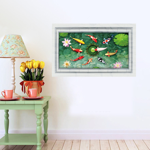 lotus leaf and fish pond 3d wall stickers for bathroom 3d wall