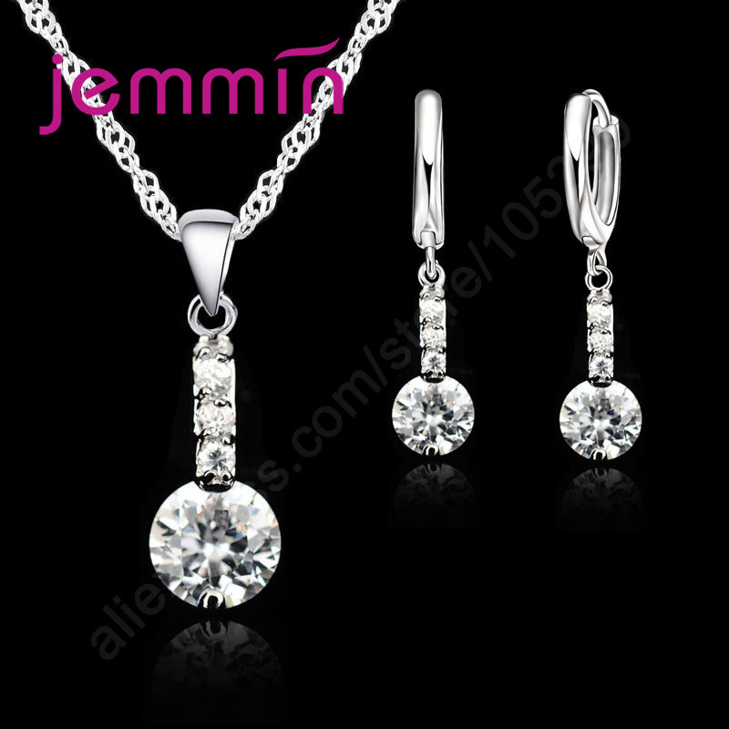 Precious Modern Luxury 925 Sterling Silver Pendant Necklace Earrings Jewelry For Female Gifts Best Quality(China)